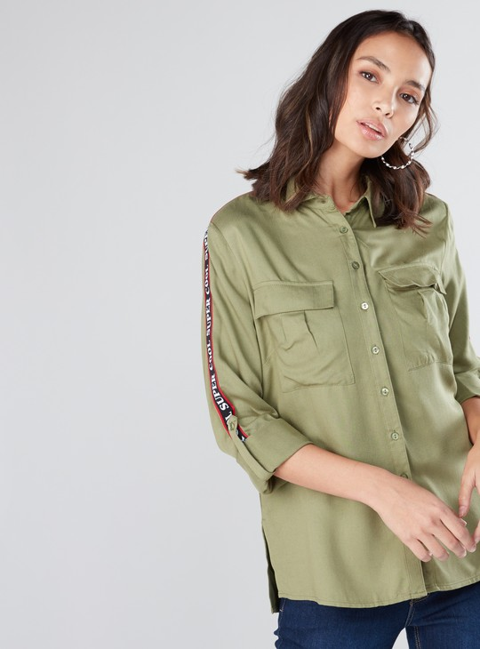 Tape Detail Shirt with Long Sleeves and Complete Placket