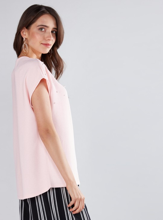 Scattered Pearl Detail Top with Round Neck and Extended Sleeves