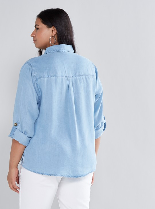 Denim Shirt with Roll-Up Sleeves and Front Knot Detail