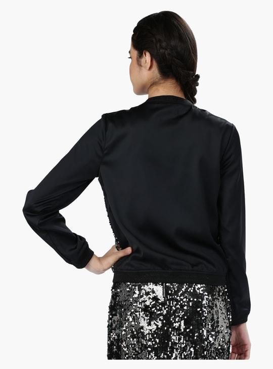 Sequin Embellished Bomber Jacket