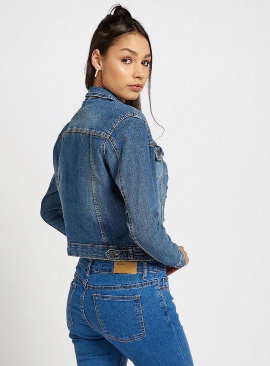 Denim Jacket with Long Sleeves and Button Closure