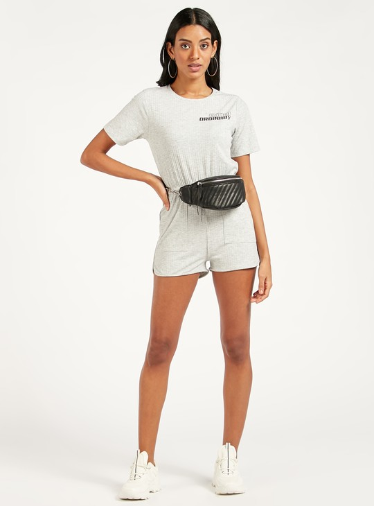 Text Printed Playsuit with Short Sleeves and Drawstring Detail
