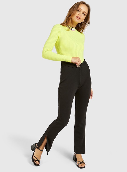 Textured Bodysuit with Round Neck and Long Sleeves