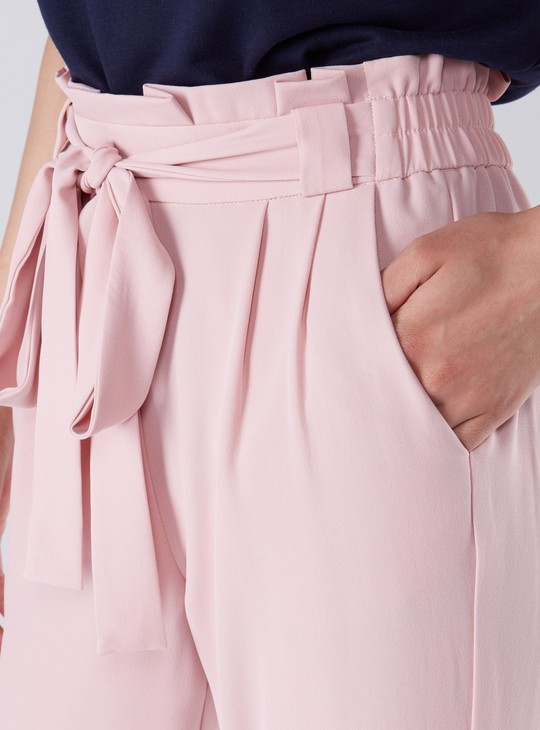 Cropped Pocket Detail Pants with Paper Bag Waist