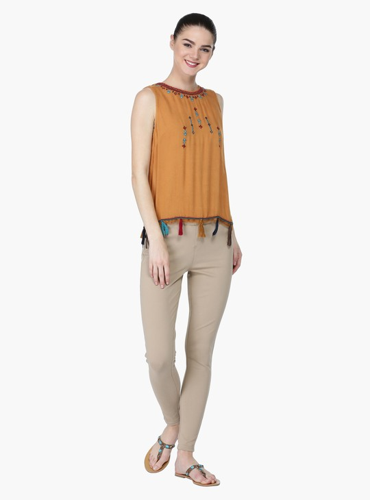 Embroidered Sleeveless Top with Tassels