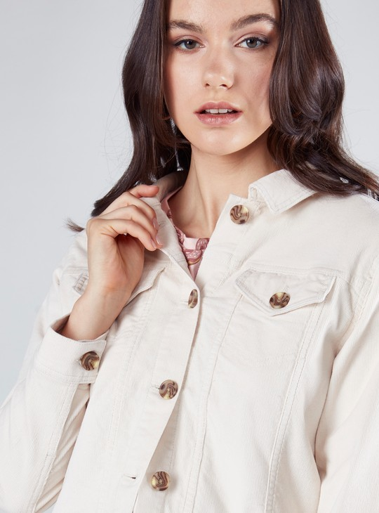 Plain Trucker Jacket with Long Sleeves