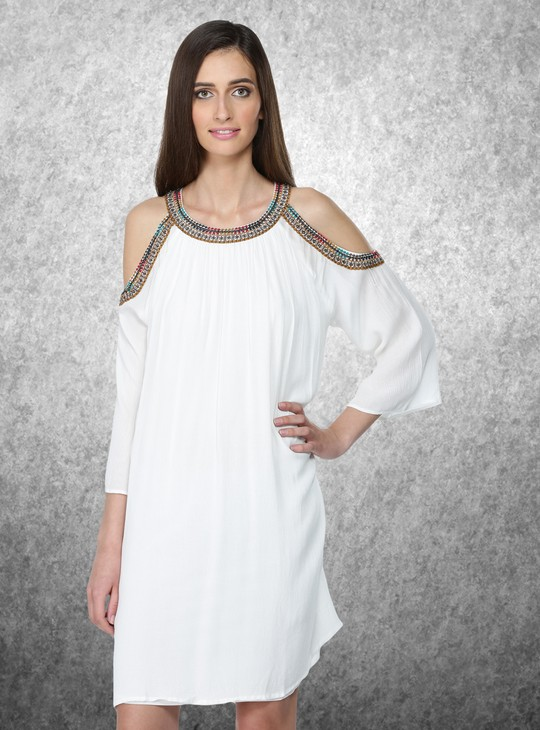 Cold Shoulder Dress with Embroidery