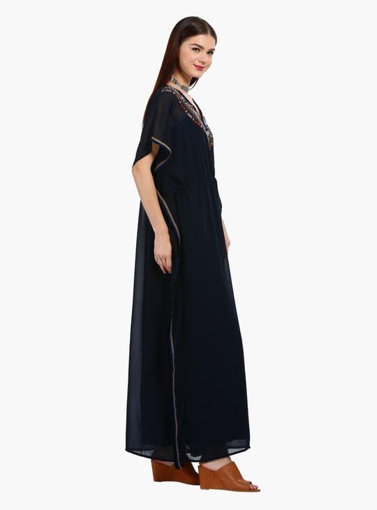 Embroidered A-Line Kimono Maxi Dress