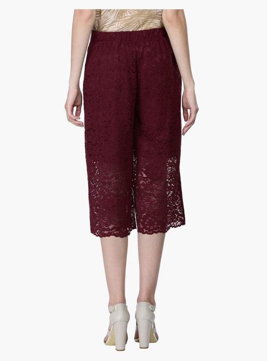 Lace Culotte Pants with Elasticised Waistband