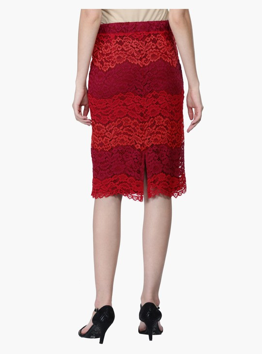 Multi Tone Lace Midi Pencil Skirt