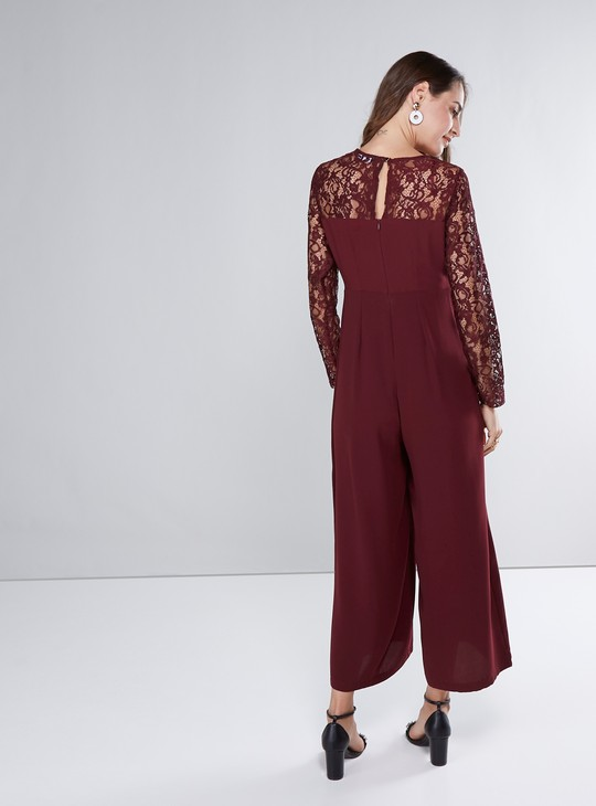 Lace Detail Jumpsuit with Long Sleeves and Round Neck
