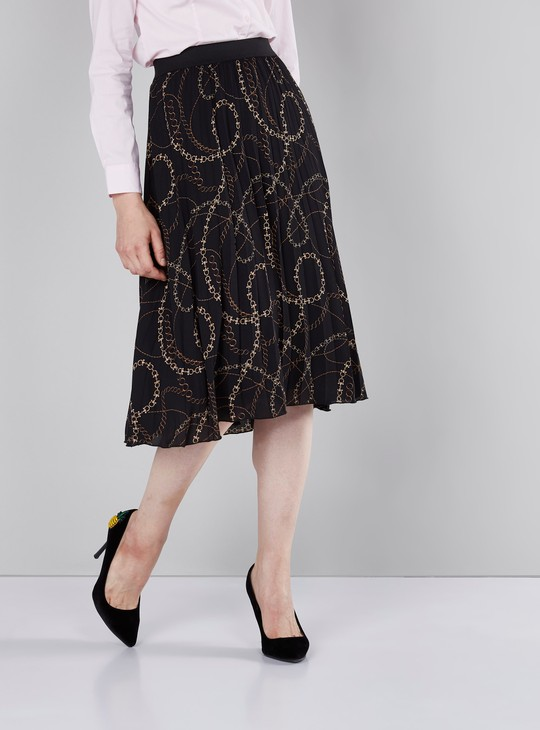 Chain Printed Midi Skirt with Elasticised Waistband and Pleats