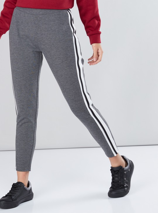 Full Length Jeggings with Elasticised Waistband and Tape Detail