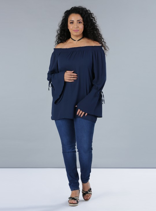 Off-Shoulder Top with Long Sleeves