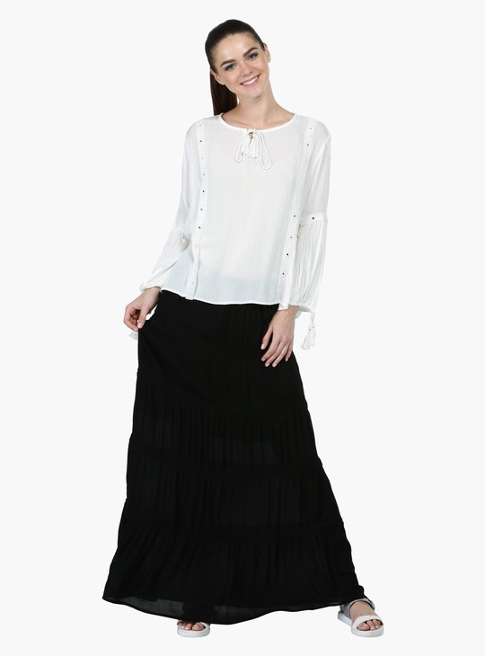 3/4 Sleeves Top with Round Neck