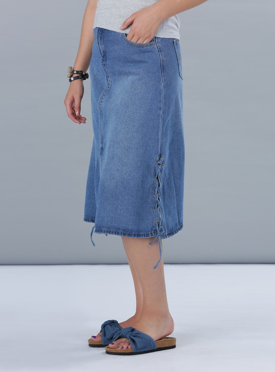 A-Line Midi Denim Skirt with Side Tie Ups