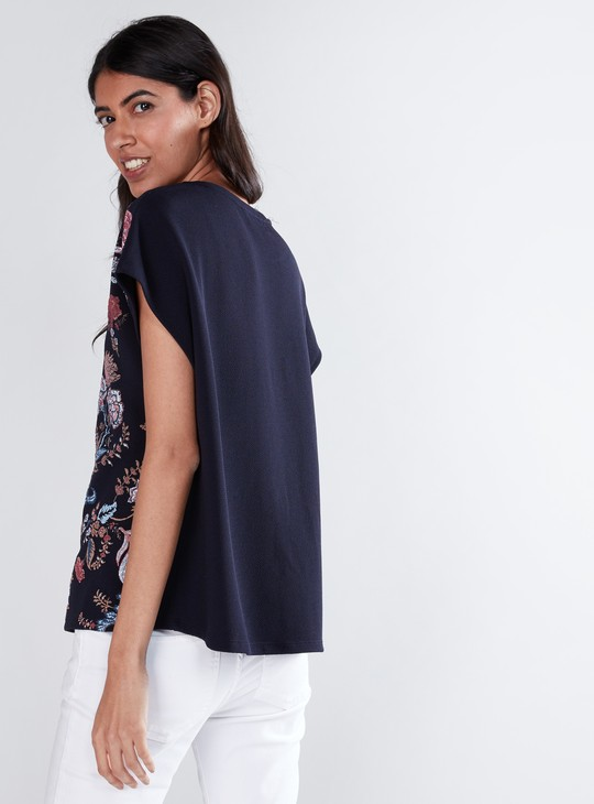 Puff Printed T-Shirt with Round Neck and Extended Sleeves
