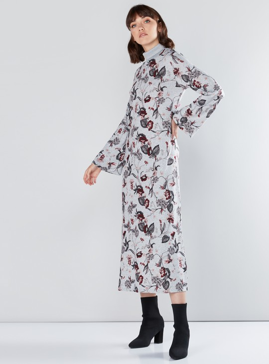 Floral Printed Dress with High Neck and Long Sleeves