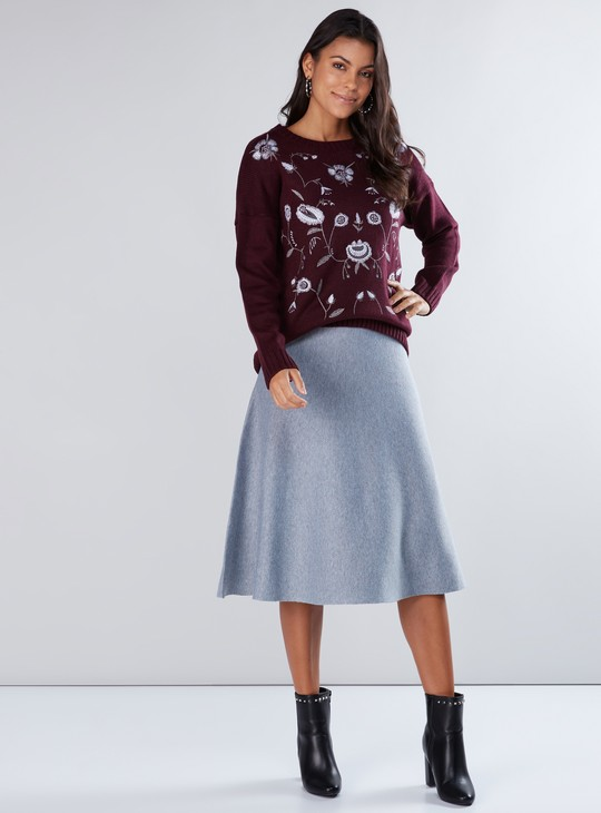 Embroidered Sweater with Round Neck and Drop Shoulder Sleeves