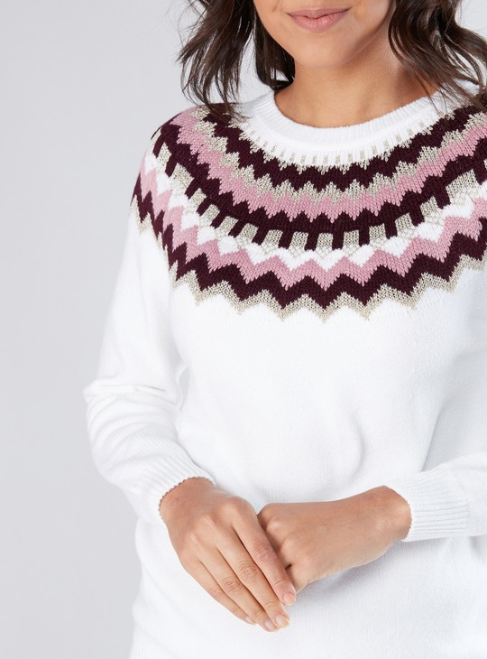 Textured Sweater with Long Sleeves and Round Neck