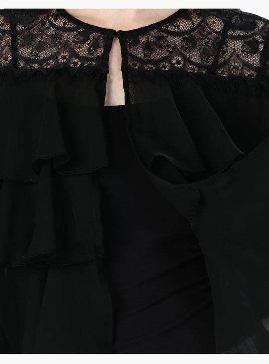 Lace Yoke Top with Layered Ruffles