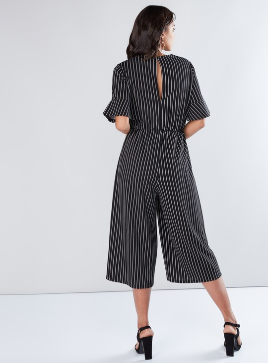 Striped Jumpsuit with Keyhole Closure and Short Sleeves