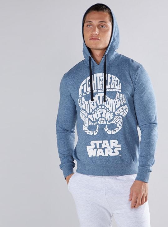 Star Wars Printed Sweatshirt with Long Sleeves and Hood