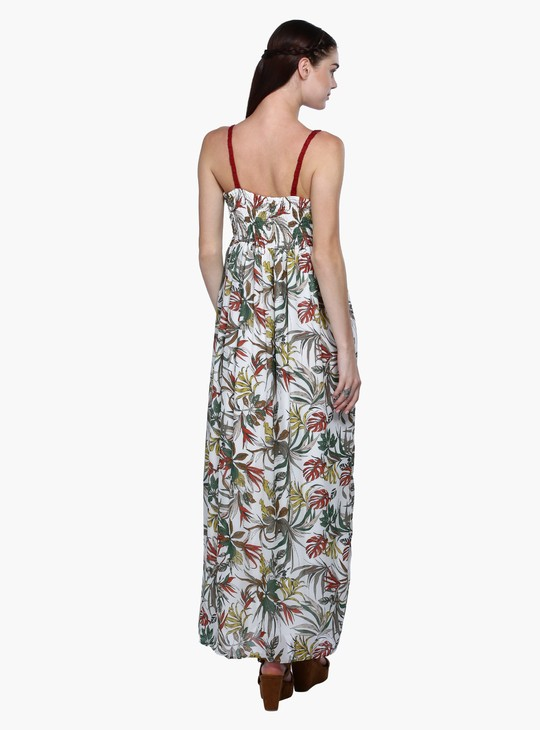 Printed Crochet Maxi Dress