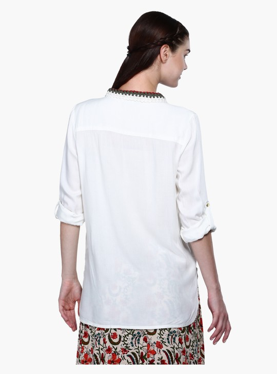Regular Fit Shirt with Roll Up Sleeves and Crochet Collar