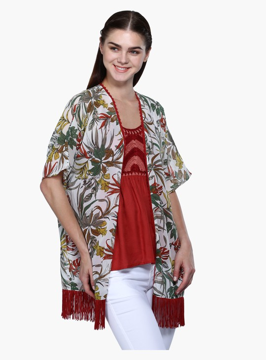 Printed Shrug with Hem Fringes
