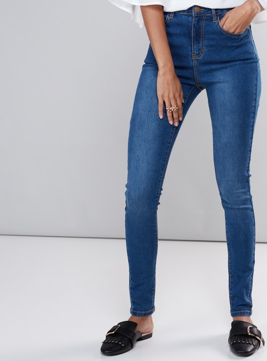 Super Skinny Fit Full Length Jeans with Button Closure