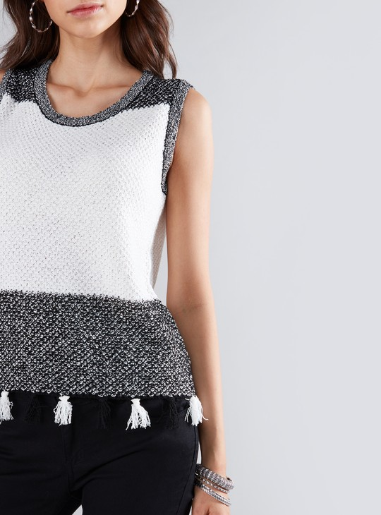 Textured Sleeveless Top with Round Neck and Tassels