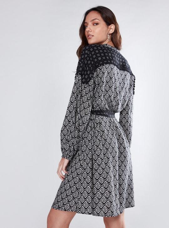 Printed Midi Dress with Mirror Detail