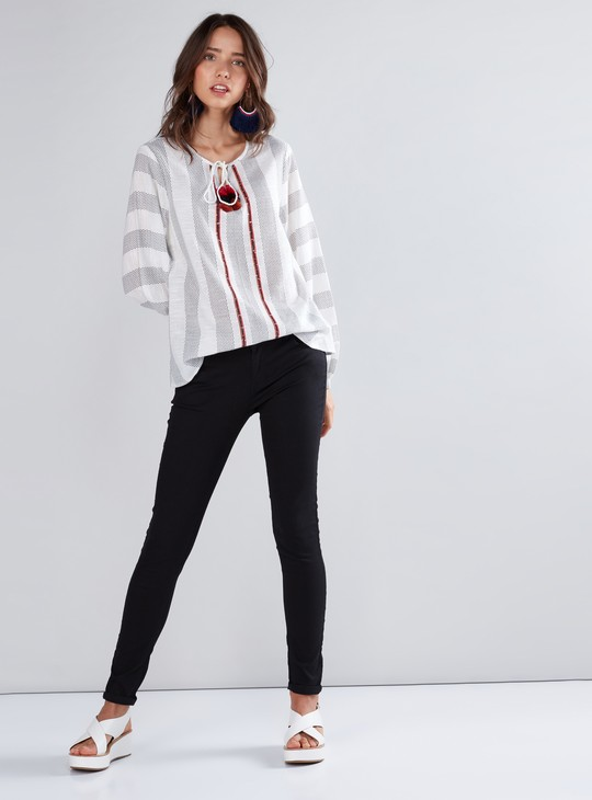 Striped Boho Top with Long Sleeves and Tie Ups