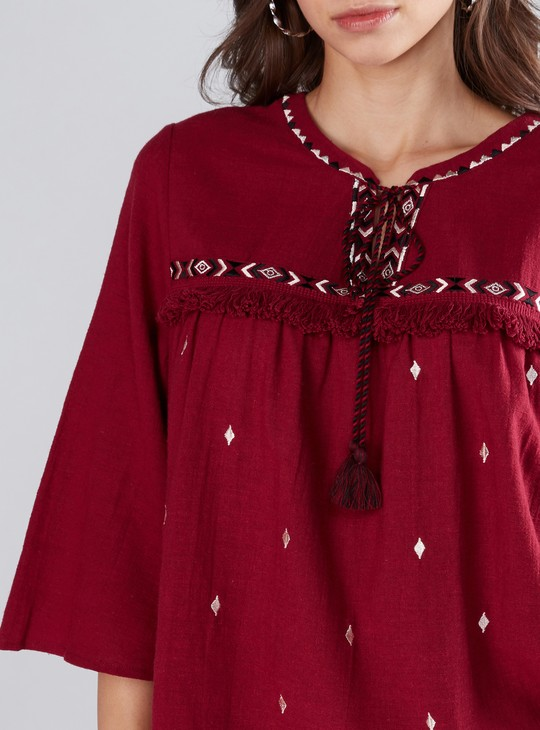 Embroidered Top with Fringes and Flared Sleeves