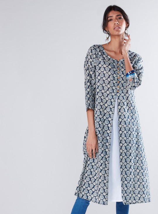 Printed Tunic with Button Detail and Front Slit