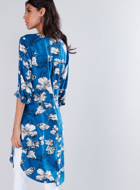 Floral Printed Tunic with Half Placket and Rounded Hem