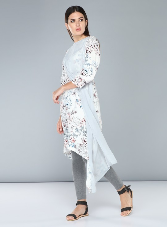 Printed Indo-Ethnic Kurti with 3/4 Sleeves
