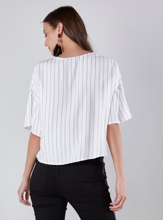 Embroidered and Striped Shirt with Front Knot Detail and 3/4 Sleeves