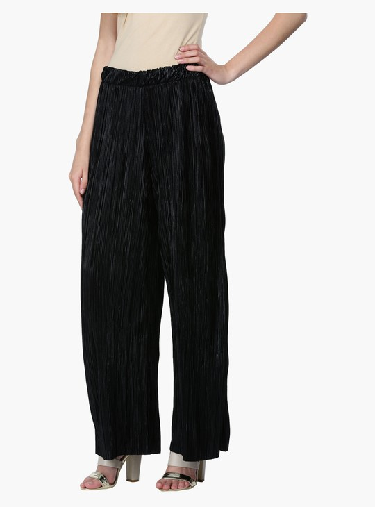 Textured Full Length Palazzo Pants with Elasticised Waistband