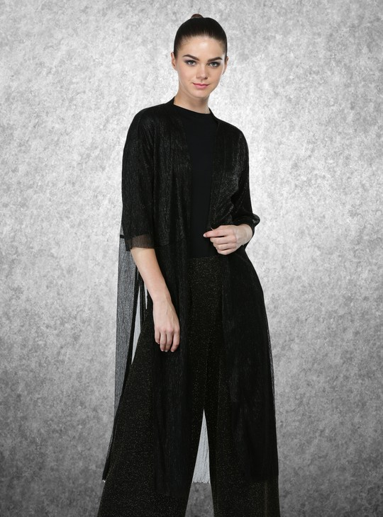 Short Sleeves Longline Shrug with Open Front