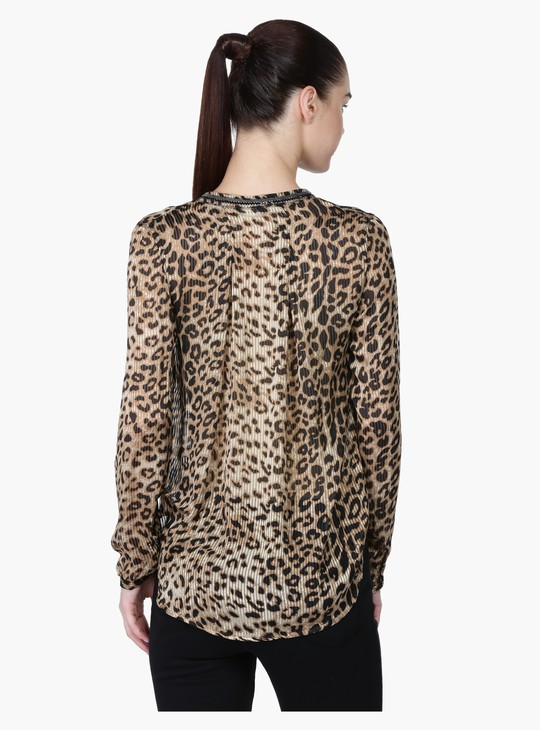 Printed Top with Long Sleeves and Complete Placket