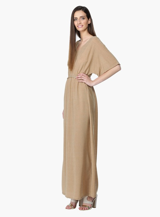 Textured Maxi Dress Kimono Sleeves and V-Neck