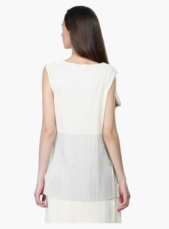Sleeveless Top with Round Neck and High Low Hem