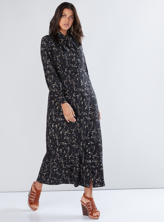 Printed Maxi Dress with Long Sleeves