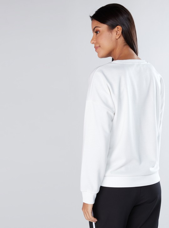 Applique Detail Sweatshirt with Round Neck and Long Sleeves