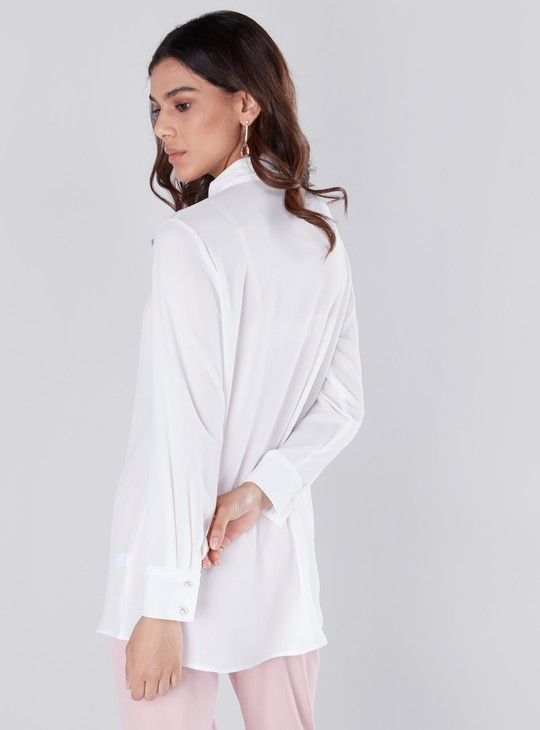 Frill Detailed Shirt with Collared Neck and Long Sleeves