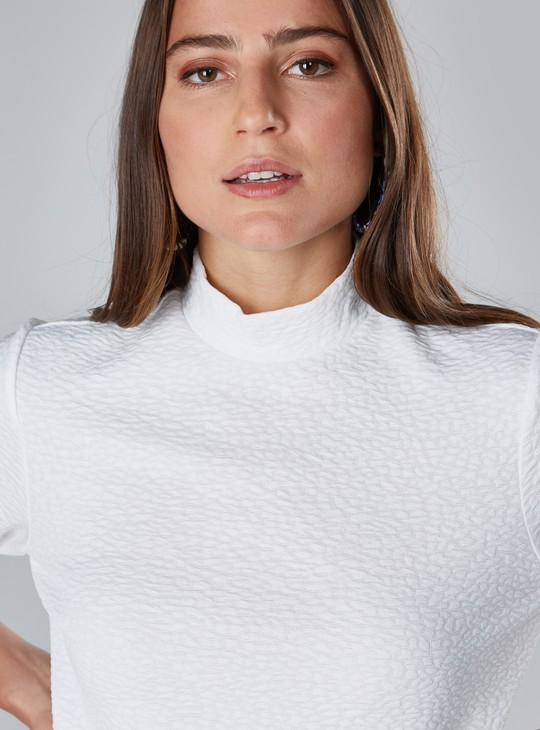 Textured Turtleneck Top with 3/4 Sleeves