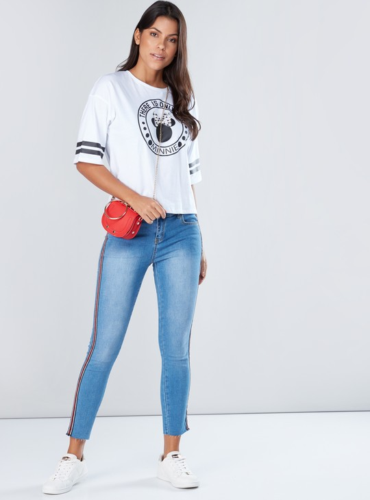 Minnie Mouse Printed T-Shirt with Short Sleeves and Pearl Detail
