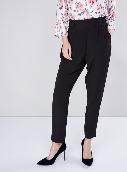 Solid Peg Pants with Pocket Detail and Paper Bag Waist